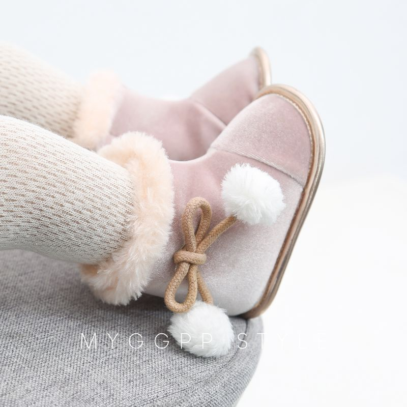 New Baby Girl Boy Shoes Boots For Girls Baby Snow Boots Winter Half Boots Infant Kids New Soft Bottom Shoes First Walkers
