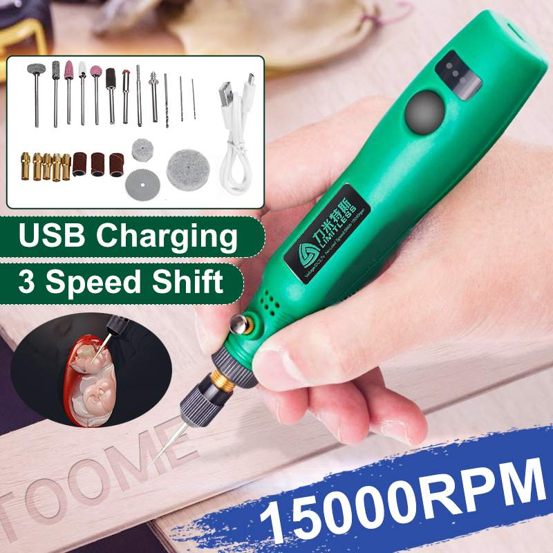 15000rpm Mini Cordless Electric Grinder Pen Jewelry Engraving Pen Sander Polisher DIY Engraver Carve Tool Power Tool Accessories
