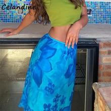 Celandine Casual Summer Beach Y2K Women Mesh Double Layer High Waisted Midi Skirt Chic Floral Tie Dye Loose Skirt Streetwear