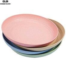 5/4 PCS Dinnerware Sets Wheat Straw Bowl Plates Eco-friendly Tray Food Dessert Container Kitchen Storage Utensil