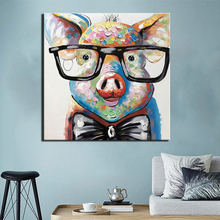 Posters Print Canvas Painting Abstract Pig Pictures for Living Room Home Decorative Modern Wall Art Cartoon Pigs Kids