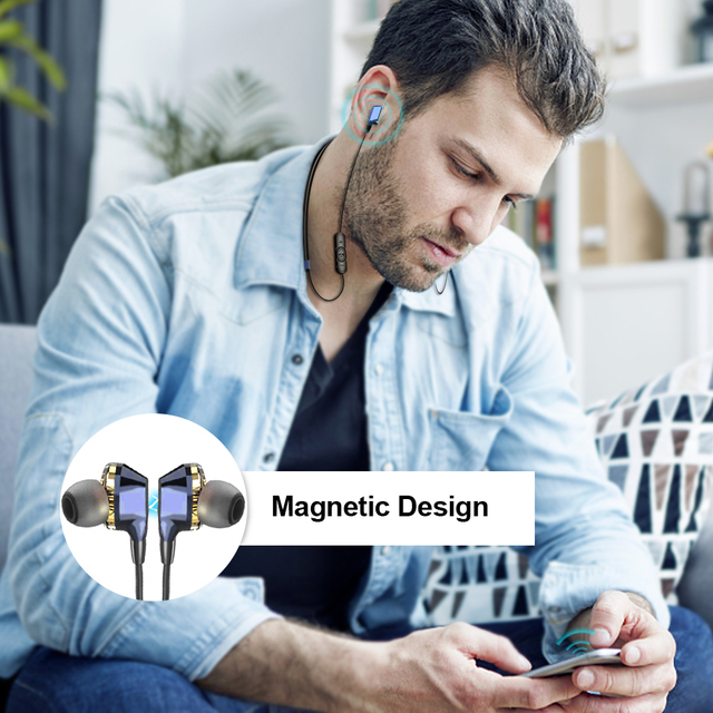 G02 Bluetooth Earphone Wireless Headphones Dual Drivers Stereo Magnetic Neckband Sport for Phone with Mic 12H Music Time 5