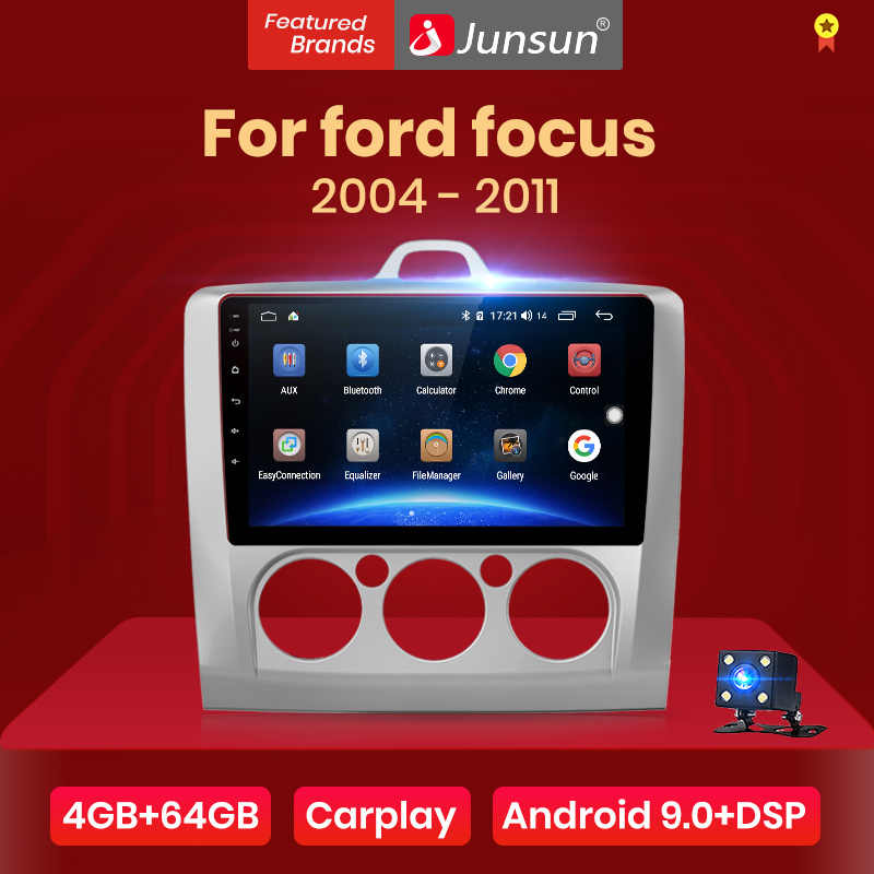 Junsun V1pro 4G + 64G CarPlay Android 9.0 DSP dla ford focus 2 Mk2 2004-2011 Radio samochodowe multimedialny odtwarzacz wideo nawigacja gps 2din