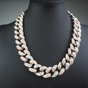 20mm Width Rose Gold Platinum Double Row White Stone Large Cuban Chain Hip Hop Fashion Single Necklace 2020 Jewelry Gift