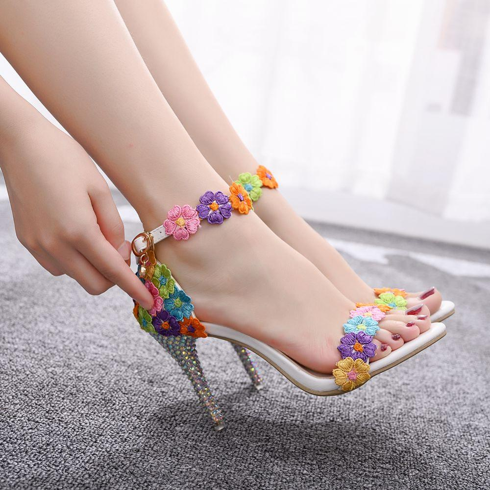 Crystal Queen Sweet White Lace Flower Sexy PUMPS  Wedding Shoes Women Lacing Ankle Strap Peep Toe High Heel Sandals 9CM Heels