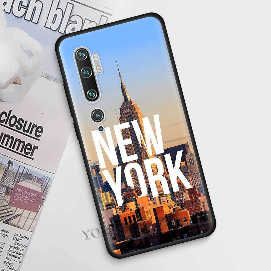 Silicone Phone Case For Xiaomi Mi Note 10 9 SE 9T CC9 Pro 5G A3 A2 8 Lite Poco X2 TPU Black Cover Shell New York Empire Building