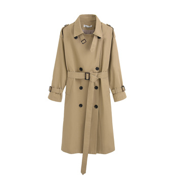 Fashion Brand New Women Trench Coat Long Double-Breasted Belt Blue Khaki Lady Clothes Autumn Spring Outerwear Oversize Quality fashion new women trench coat long double breasted belt blue khaki lady clothes autumn spring outerwear