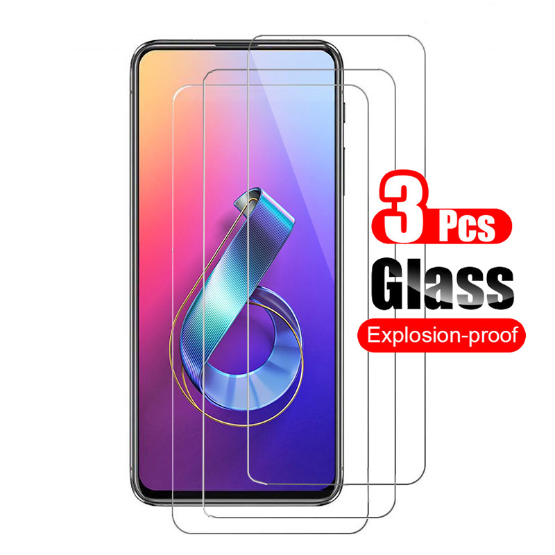 3Pcs Tempered Glass For <font><b>Asus</b></font> <font><b>Zenfone</b></font> <font><b>6</b></font> <font><b>ZS630KL</b></font> <font><b>2019</b></font> Screen <font><b>Zenfone</b></font> 6Z Protector Guard 9H Toughened Protective Film 0.26mm image