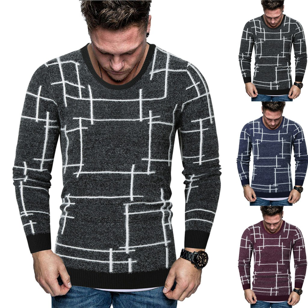 Low Price Loss Sale 2019 Men  New Autumn Winter Splicing Casual Long Sleeve Knitting Sweaters Tops High Quality Drop Shipping