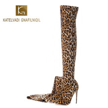 KATELVADI Sexy Leopard Over Knee Boots Women Stretch Fabric 12.5CM Shoes Woman Long Size 35-45 K-586
