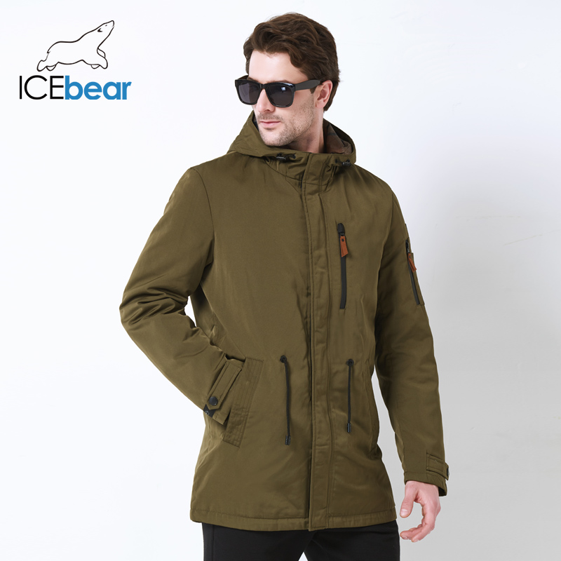ICEbear 2019 Trench Coat For Men Hat Detachable Autumn Men New Casual Medium Long Brand Coats 17MC017D-in Trench from Men's Clothing
