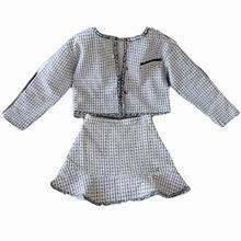 New Design Autumn Winter 2019  Women Crop Top Skirt Set Clothing Two-Piece Suit Dress Plaid Coat Short Skirts Vestido