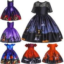 цена на ghost Elf Cartoon Children's favorite Halloween Retro Vintage Lace Dress Girl Pumpkin Swing Dress Party Costume show clothing