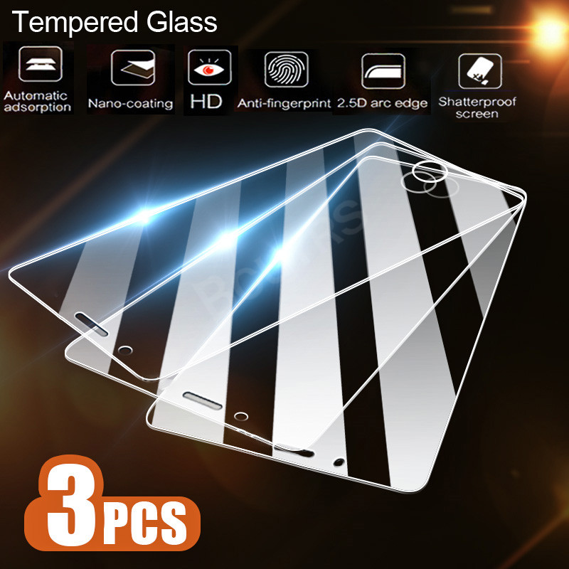 3PCS/lot Screen Protector Tempered Glass For iPhone X XR XS Max 8 7 Plus 6 6S Plus 5 5S SE Screen Protector Film Phone Glass