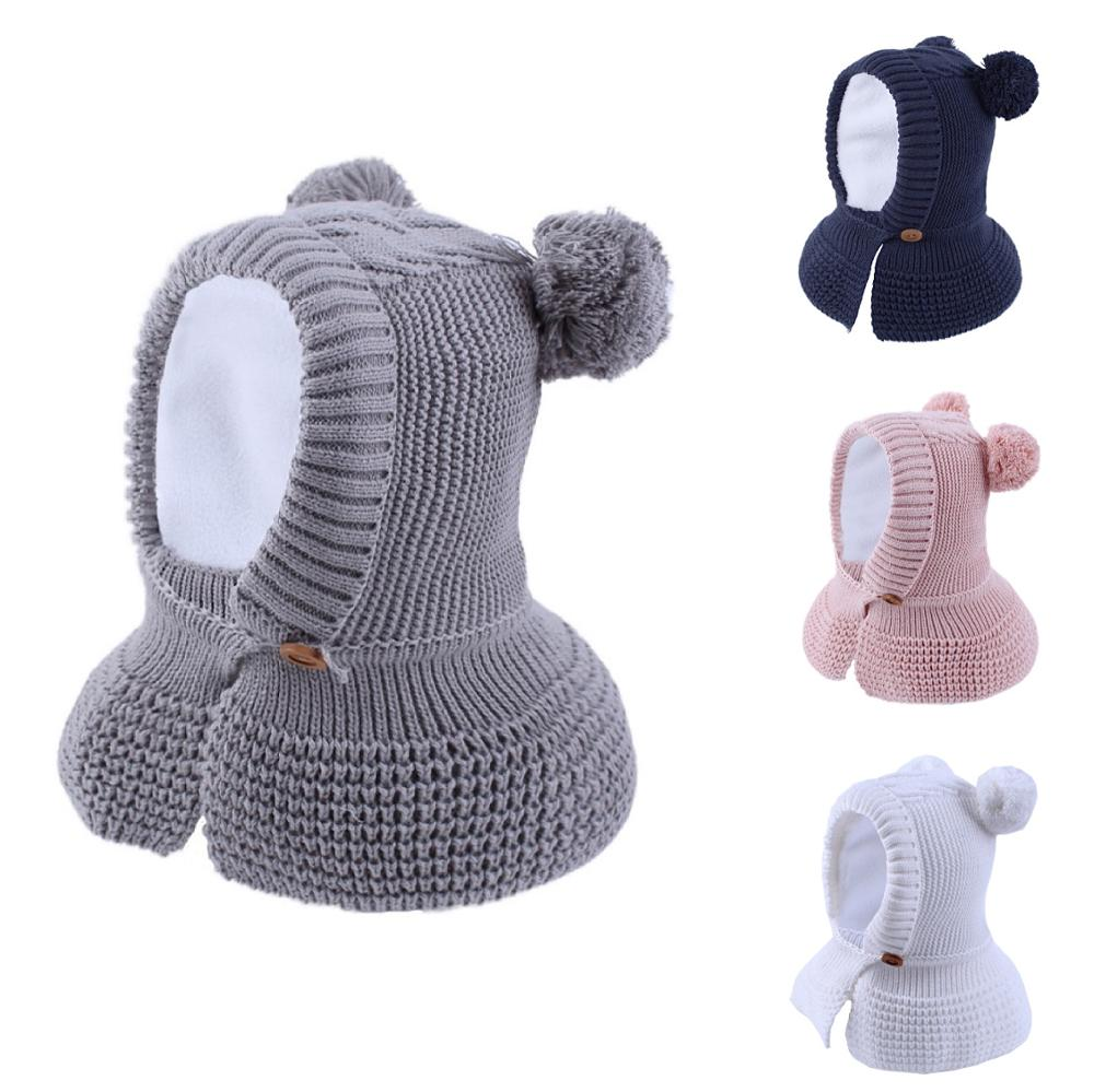 Connectyle 2019 New Style Toddler Infant Boys Girls Winter Warm Hat Cute Thick Earflap Hood Hat Scraves With Pom-Pom