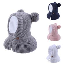 Connectyle 2019 New Style Toddler Infant Boys Girls Winter Warm Hat Cute Thick Earflap Hood Hat Scraves With Pom Pom