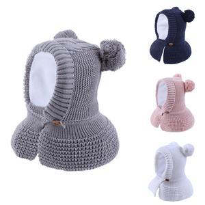 Image 1 - Connectyle 2019 สไตล์ใหม่ทารกเด็กชายหญิงฤดูหนาว WARM หมวกน่ารักหนา Earflap Hood หมวกผ้าพันคอกับ Pom  POM