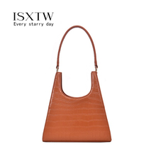 ISXTW Fashion Women's Handbag Crocodile Pattern Casual Simple Tote bags PU Leather Design Classic Solid Color Bags for Women/D19 fashion style women s tote bag with pu leather and crocodile print design