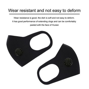 Unisex Black Valve Mouth Mask + Filter Pad Anti COVID-19 Flu Virus Respirator Face-shielding Protective Face Mask Fast Shipping 2