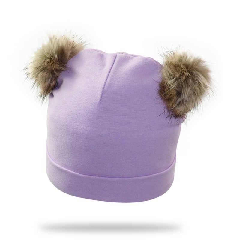 หมวกเด็กหมวก Duoble Pompom หมวกเด็กทารกหมวกฤดูหนาวกับ Pompom ใหม่ Faux Fur หมวกเด็ก