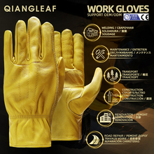 QIANGLEAF Brand New Mens Work Gloves Cowhide GlovesLeather Security Protection Wear Men Safety Winter Working Welding Glove 3ZG
