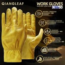 QIANGLEAF брендовые новые мужские рабочие перчатки из воловьей кожи, защитная одежда для мужчин, зимние рабочие перчатки для сварки 3ZG