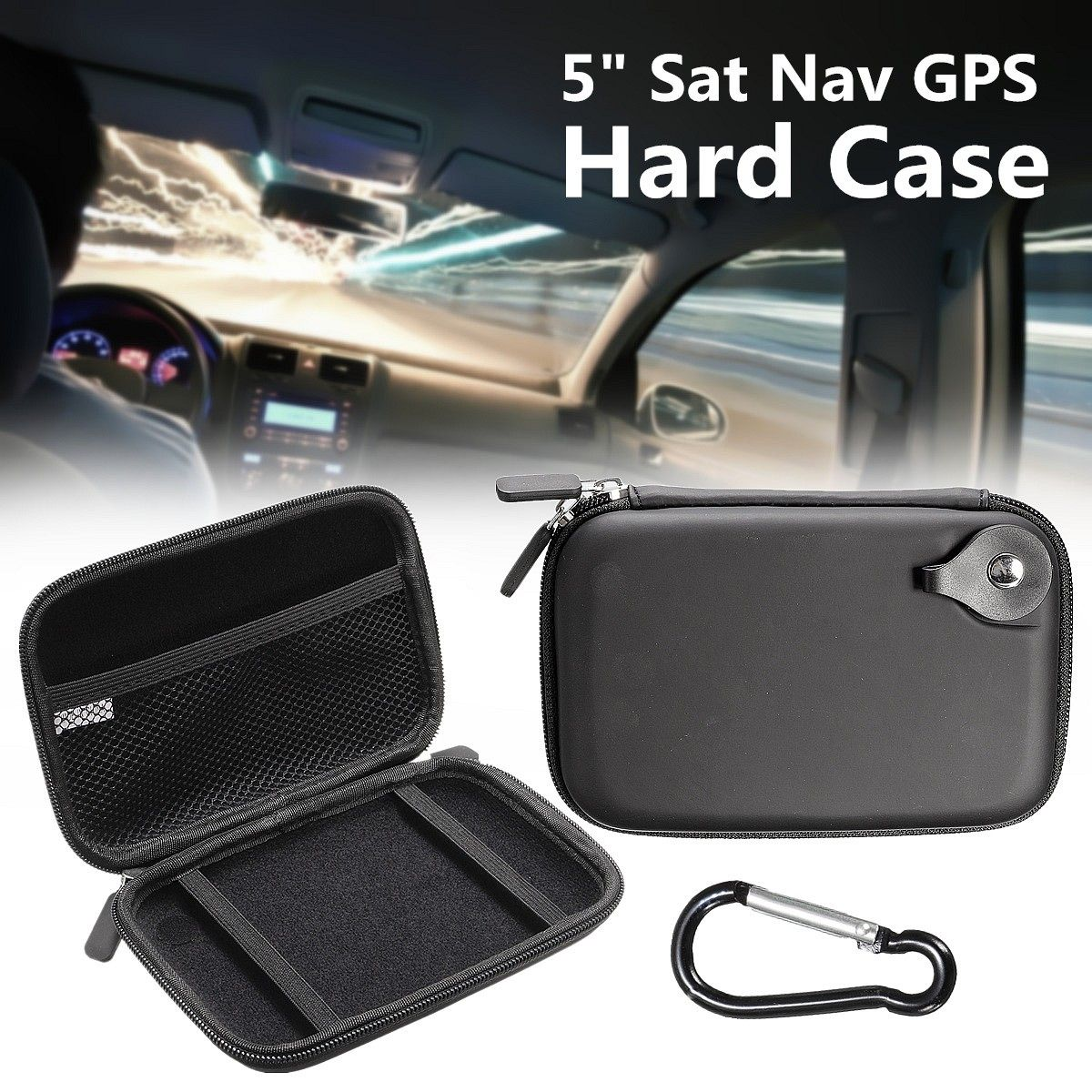 5 inch EVA Hard Shell Carry Bag <font><b>Case</b></font> Cover In Car <font><b>Sat</b></font> <font><b>Nav</b></font> Holder Protection Cover Pouch Package GPS <font><b>Case</b></font> For TomTom Start image