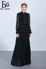 Baogarret Fashion Runway Maxi Dresses Womens Long Sleeve Lace Patchwork Ruffles Vintage Black Dress Elegant Party