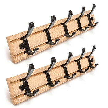2Pcs Nordic Fashion Style Bedroom Furniture Coat Rack Clothes Hanger Hooks Living Room Closet Wooden Hat Racks Coat Hanger Wall
