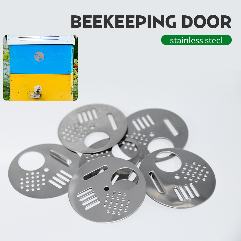 Brand 5PCS Bee Door Beehives Bee Box Door Cage Stainless Steel Round Hive Hole Beekeeping Nest Door Equipment Beekeeping Tools