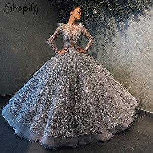 Élégant robe de bal à manches longues doux 16 robes de célébrité gonflé argent paillettes mexicain Quinceanera robe 2020