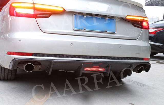 Spoiler de diffuseur de lèvre arrière de Fiber de carbone avec la lampe pour Audi A4 S4 B9 Sline 2017 -2019 pas pour la protection de pare-chocs Standard A4