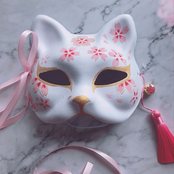 Hand-painted Cat The nine-tailed Fox Mask Natsume's Book of Friends Pulp Half Face Halloween Cosplay Animal Party Toys For Woman image