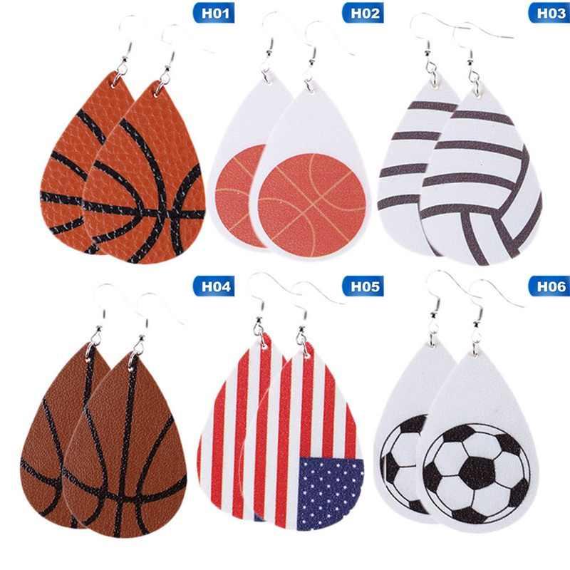 11 نمط بولي flag العلم كرة السلة كرة القدم البيسبول أقراط الأمريكية الموضة منقوشة الجلود أقراط جلدية المرأة مجوهرات الأزياء