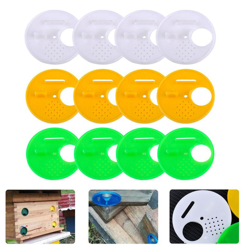 12pcs 3 Colors Beekeepers Beehive Box Entrance Gates 68mm Beekeeping Tools Equipment For Top Bar Hives Nuc