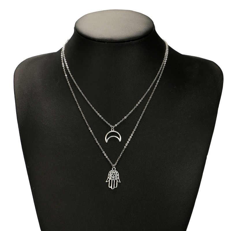 Nowa moda naszyjnik proste proste kobiety naszyjnik z srebrny księżyc dłoni kobiet akcesoria hurtownie koraliki do biżuterii