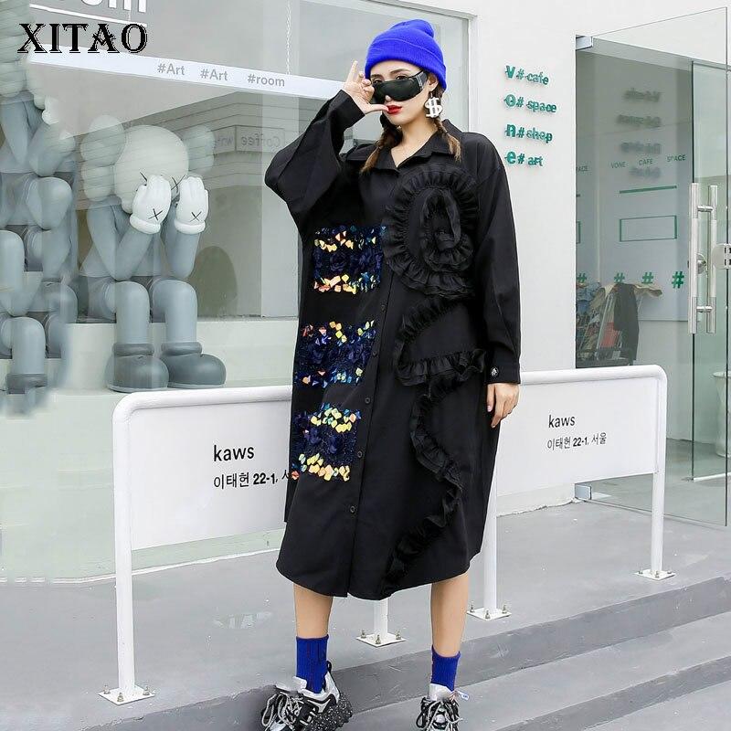 XITAO Print Patchwork Dress Women Loose Fashion Streetwear Turn Down Collar 2020 New Autumn Full Sleeve Dress Goddess Fan ZP2869