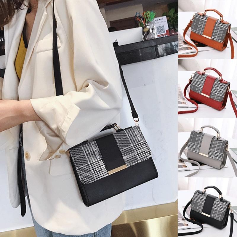 2019 New Fashion Women Ladies Crossbody Leather Shoulder Bag Tote Purse Plaid Handbag Messenger Satchel