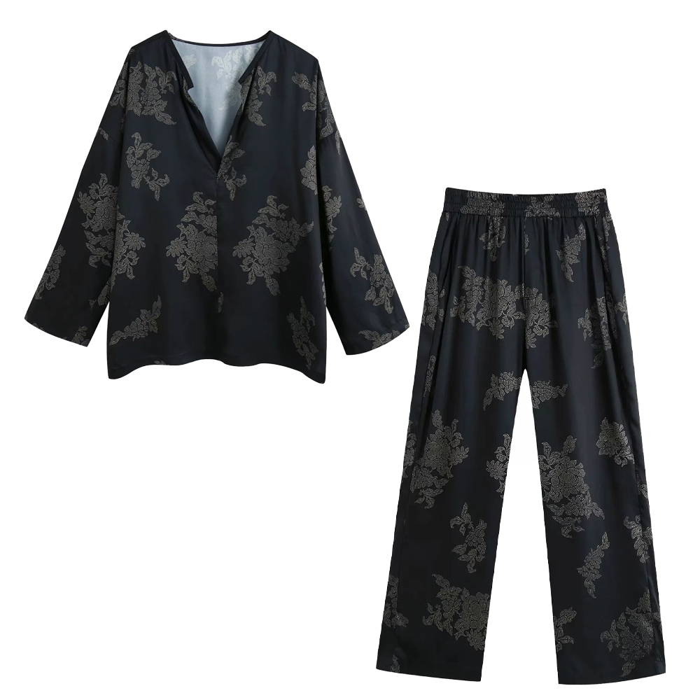 2020 New Women Two Piece Set Printed Loose style Long sleeves V-neck Blouse & Pants Trousers Elastic Waistband