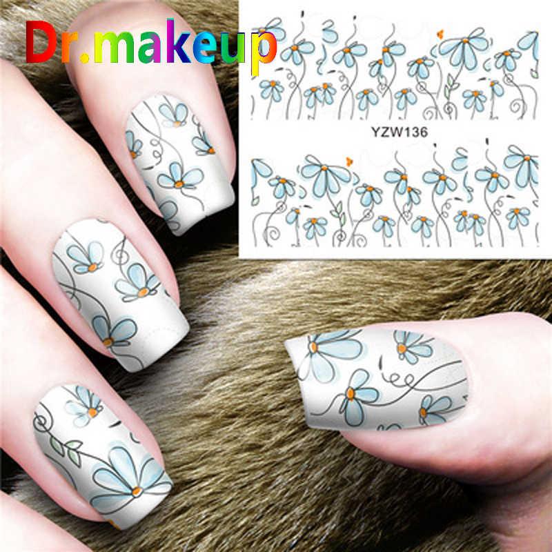Dr. Maquillage offre spéciale 1 feuille couverture complète transfert d'eau autocollants pour ongles bricolage 3D fleur Art des ongles curseurs adhésifs autocollants pour ongles