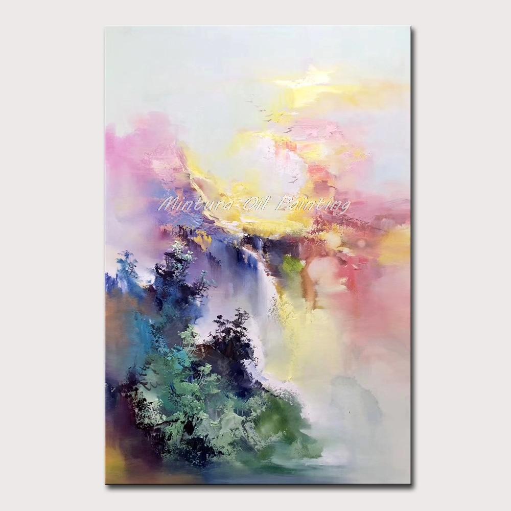Mintura ручная роспись маслом на холсте красивое Рисование абстрактного пейзажа Настенная картина отель украшение для комнаты без рамки - Цвет: MT161687