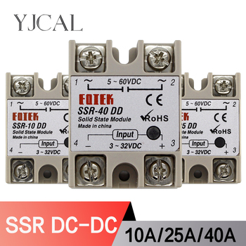 Solid State Relay Module DC 5-60V SSR-10DD SSR-25DD SSR-40DD 10A 25A 40A Input 3-32V DC Output High Quality ssr 25dd 40dd 60dd 80dd ssr single phase dc control dc heat sink 3 32vdc to 5 220vdc25a 40a 60a 80add solid state relay