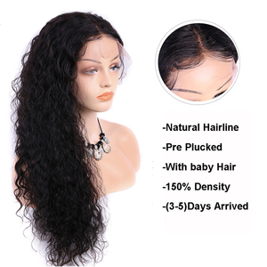 Image 3 - Wet and Wavy Wig 360 lace frontal wig pre plucked with baby hair Water Wave Lace Front Human Hair Wigs Curly Human Hair Wig 150%