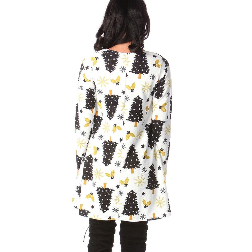 Print Long Sleeve Autumn Winter Christmas Dress Women 19 Casual Loose Short Party Dress Plus Size S-5XL Vestidos 36