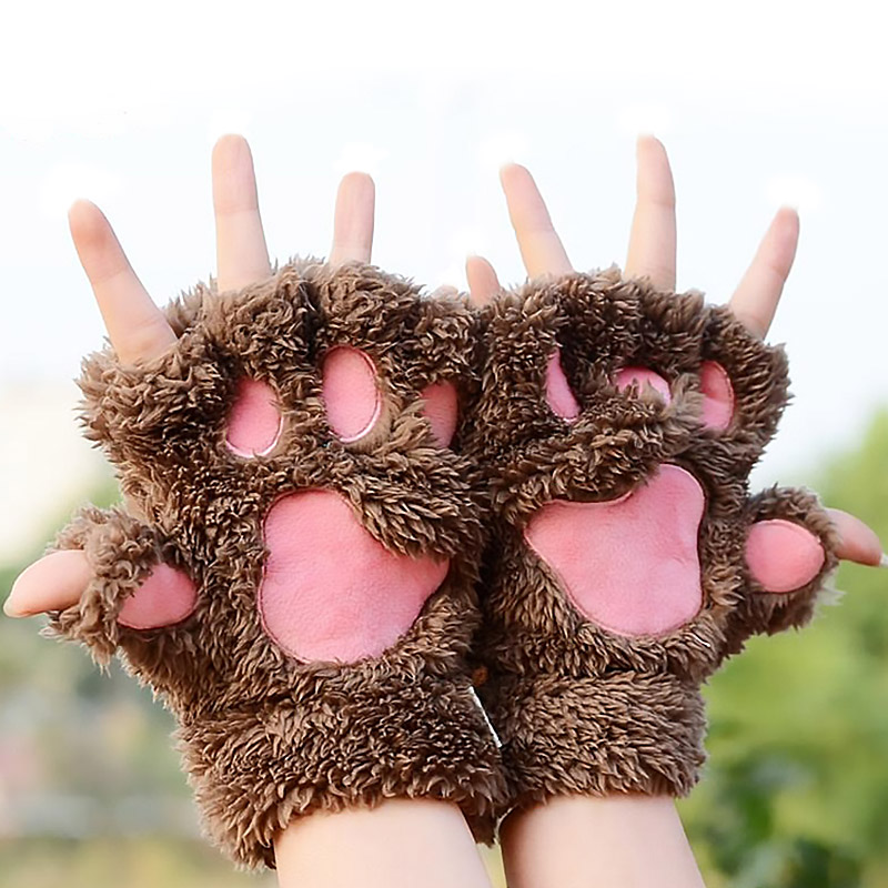 1 Pair Lovely Winter Gloves Cute Plush Warm Mittens Cat Paw Short Fingerless Gloves Half Finger Gloves For Women Ladies Girls BH