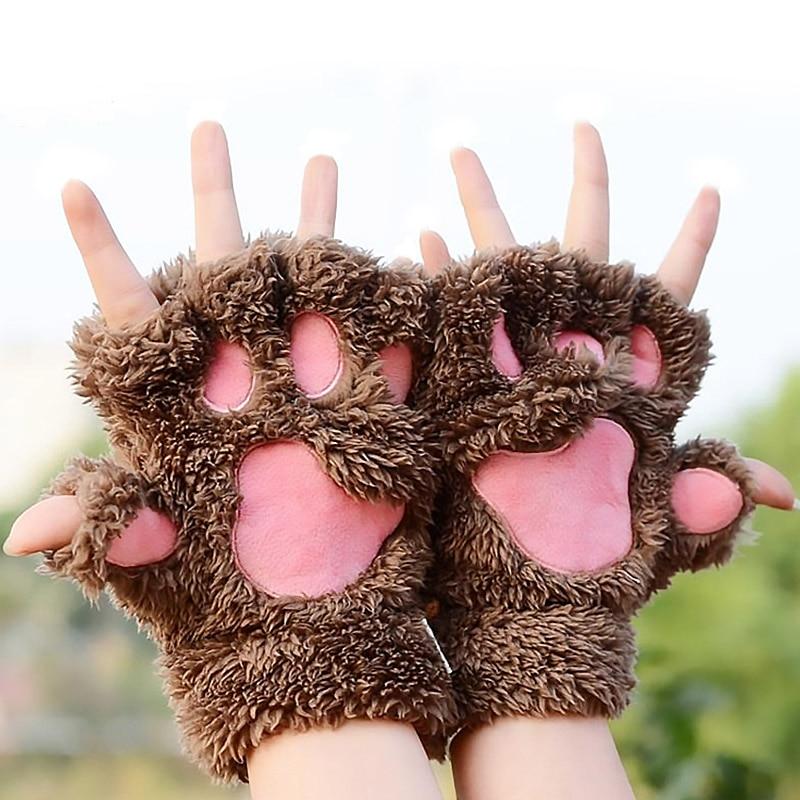 1 Pair Lovely Winter Gloves Cute Plush Warm Mittens Cat Paw Short Fingerless Gloves Half Finger Gloves For Women Ladies Girls BH
