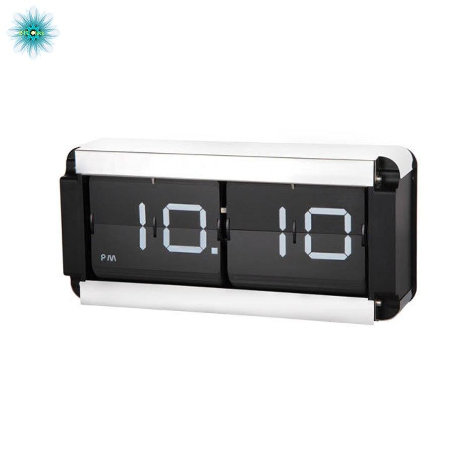 Modern Design Large Digital Flip Clock Creative Metal Table Clocks Decorative Bedroom Retro Auto Flip Page Clock Wall Hanging