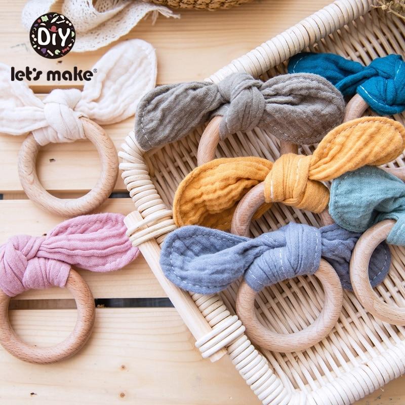 Let'S Make 1PC Wooden Teether Bunny Ear Wooden Rings Baby Bib Cotton Towel For DIY Bracelet Pendant Nursing Newborn Baby Product