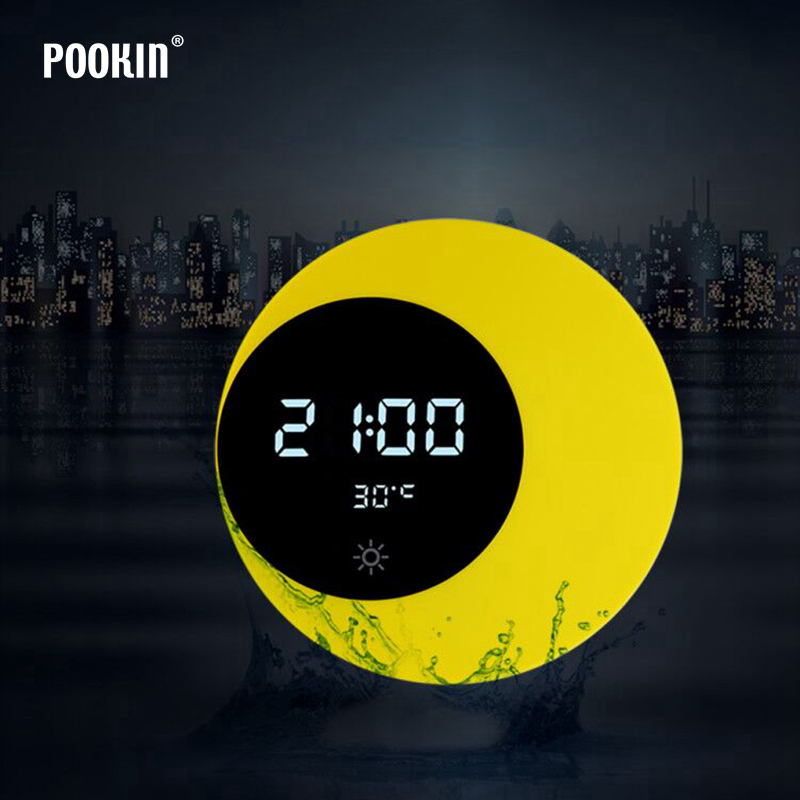 Multi-function Led Digital Alarm Clock Moon Night Light Temperature Display Touch Sensing USB Charging Table Lamp Holiday Gift(China)