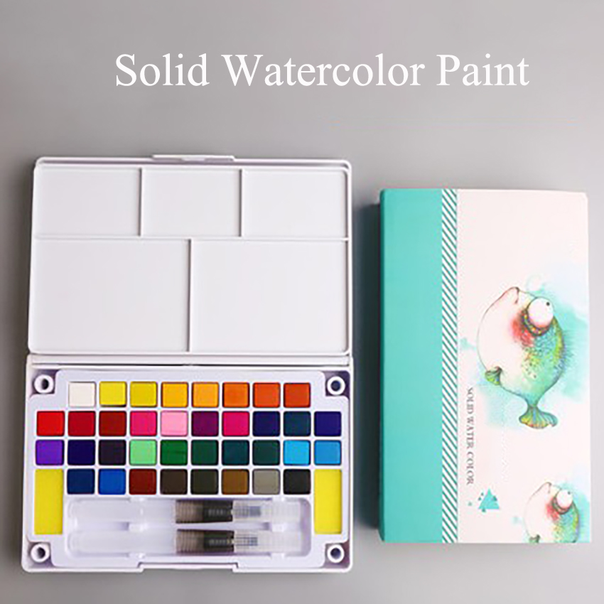 12/18/24/36 Colors Portable Solid Watercolor Paint Hand-painted Watercolor Pigment With Watercolor Brush  Sponge For Student Art